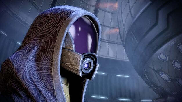 An image of a member of the quarian race from Mass Effect.