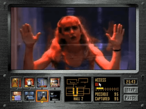 A screenshot of Night Trap for the Sega CD.