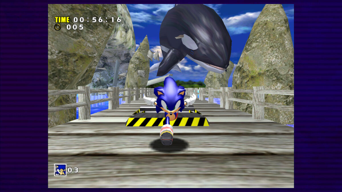 Sonic running away from giant Orca