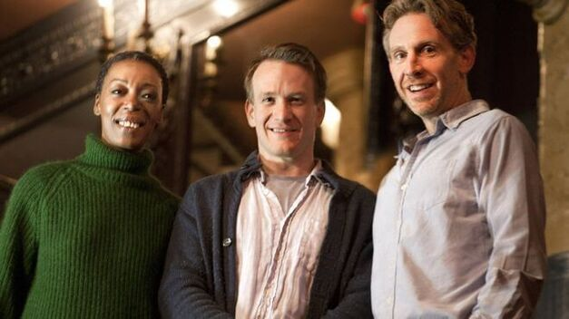 L-R Noma Dumezweni (Hermione Granger), Jamie Parker (Harry Potter) and Paul Thornley (Ron Weasley)