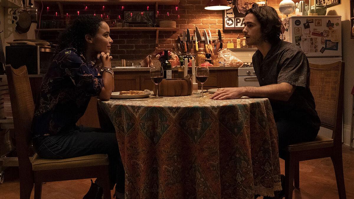 Ben Schnetzer as Yorick Brown with girlfriend Beth Deville, played by Juliana Canfield.