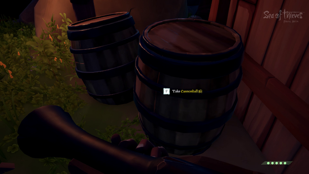Cannonballs in a barrel in Sea of Thieves