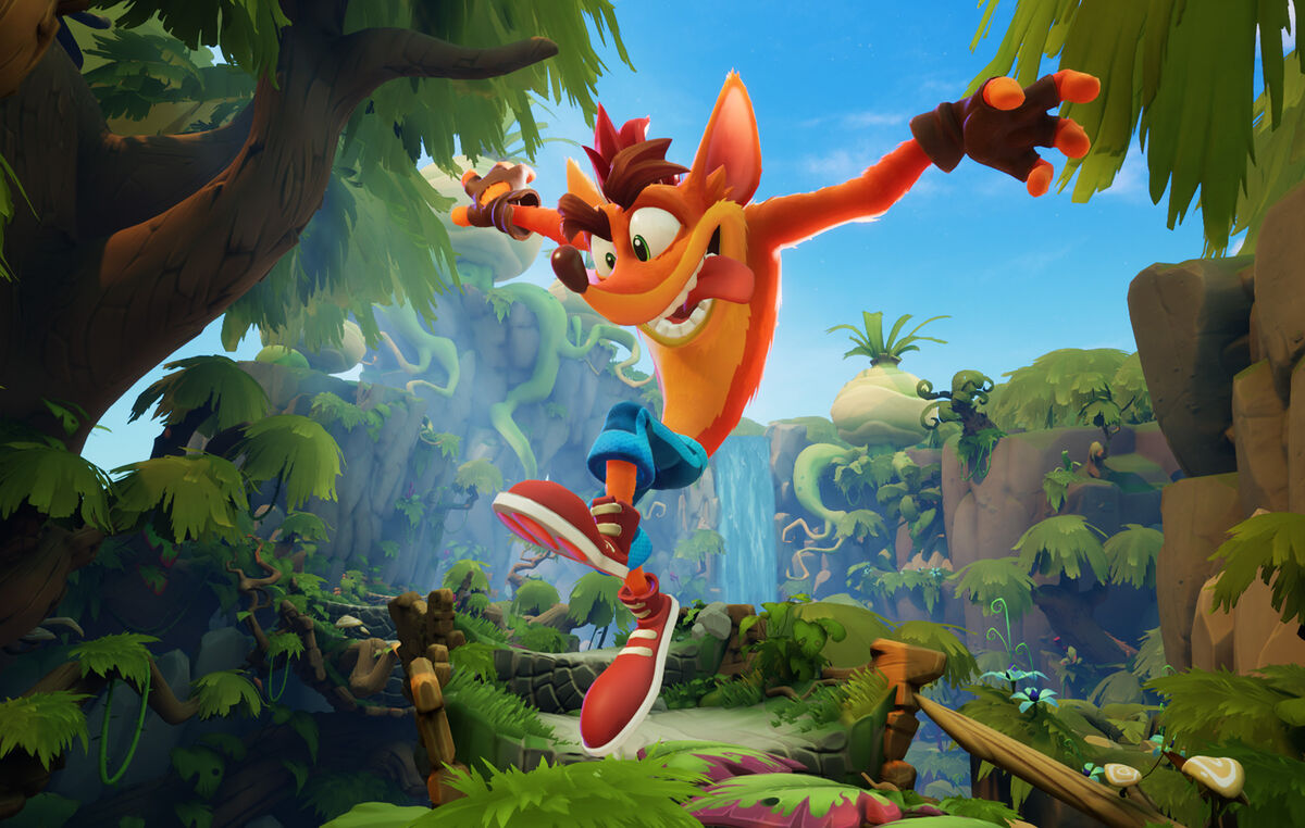 Crash Bandicoot in front of a Jungle background