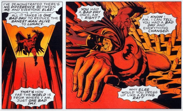 A two-panel excerpt of Batman referencing his costume and personality as a lunatic.