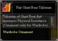 Fair Giant Bear Talisman