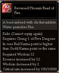 Reversed Phoenix Bead of Fire