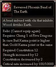Reversed Phoenix Bead of The Earth