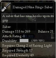 Damaged Nine Rings Saber