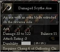 Damaged Scythe Axe