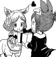 Shino giving maki a present