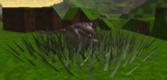 Adult struthomimus eating shrubs