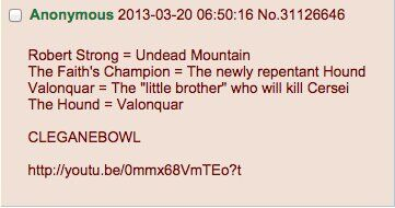 Cleganebowl post from 4chan