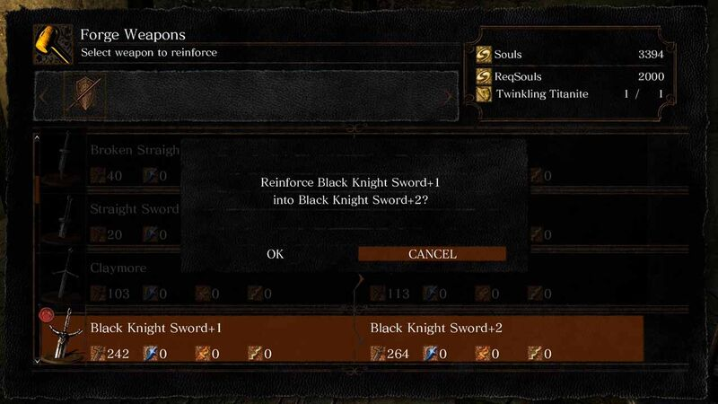 Black Knight Sword Andre upgrade reinforce
