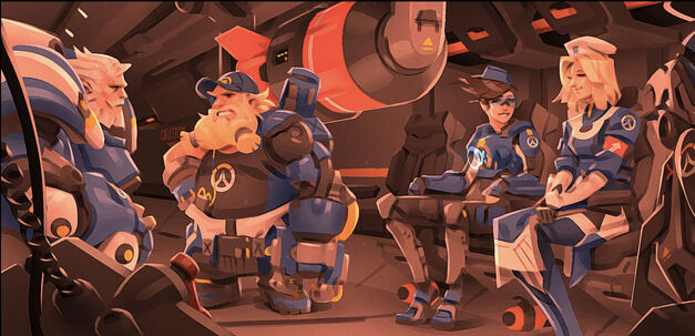 Reinhardt, Torbjorn, Tracer, and Mercy all wearing similar blue outfits.