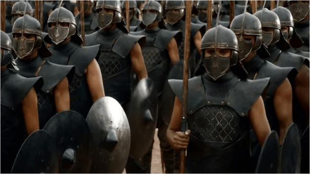 The unsullied army from Game of Thrones Halloween costume idea