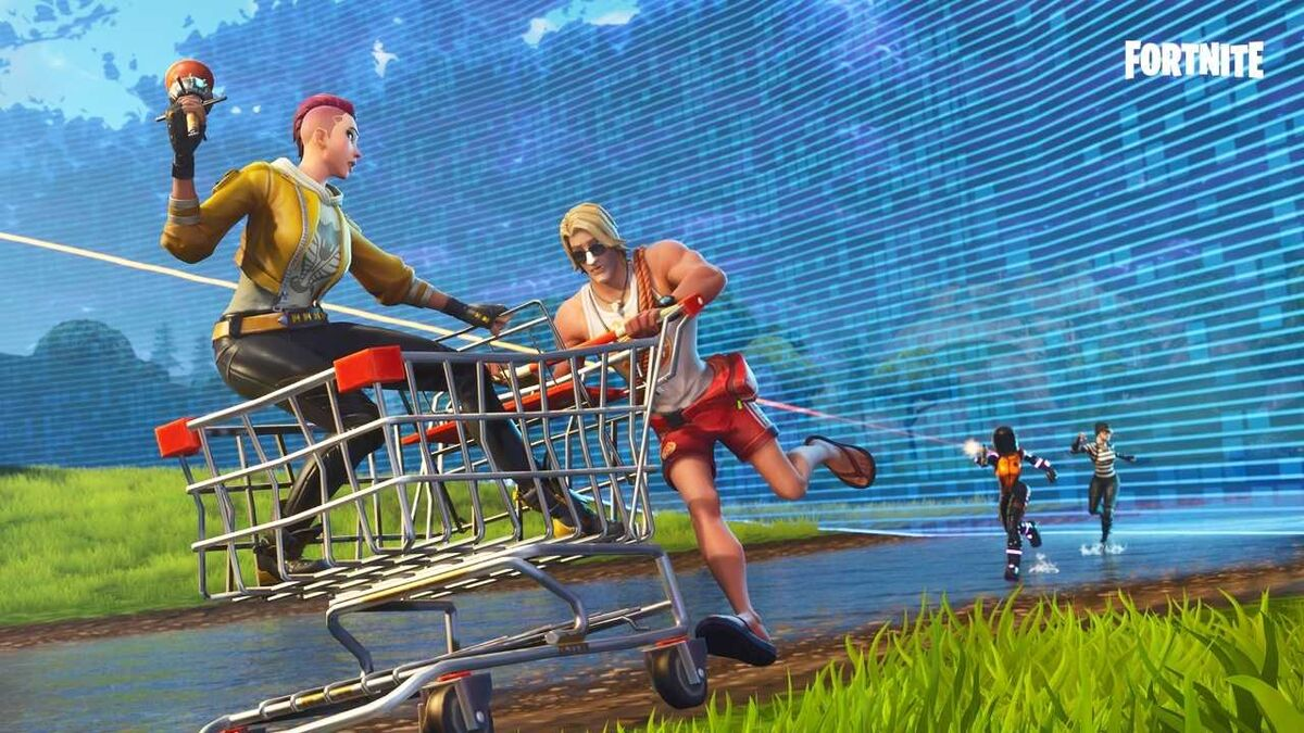 Shopping cart in Fortnite Steady Storm mode as storm comes in