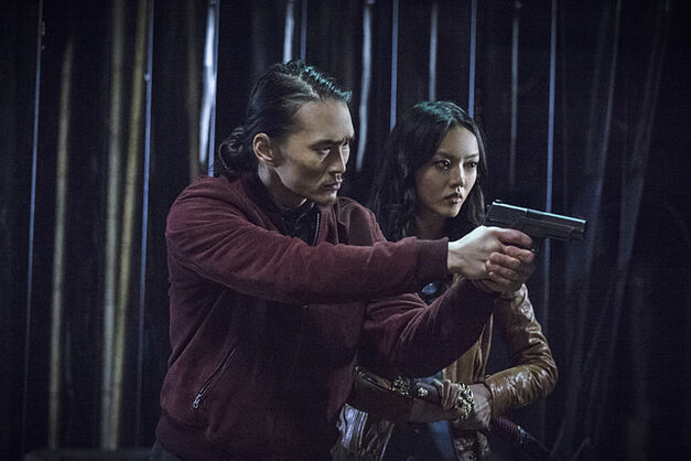 "Arrow episode ""Broken Arrow"" Karl Yune as Maseo and Rila Fukushima as Tatsu Yamashiro -- Photo: Cate Cameron/The CW"
