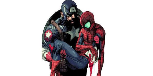 Captain America Holding Spider-Man