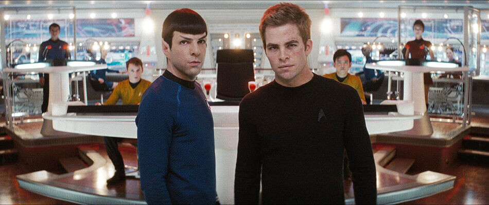 Acting Captain Kirk and Commander Spock on the bridge of the Enterprise, during the final battle with Nero.