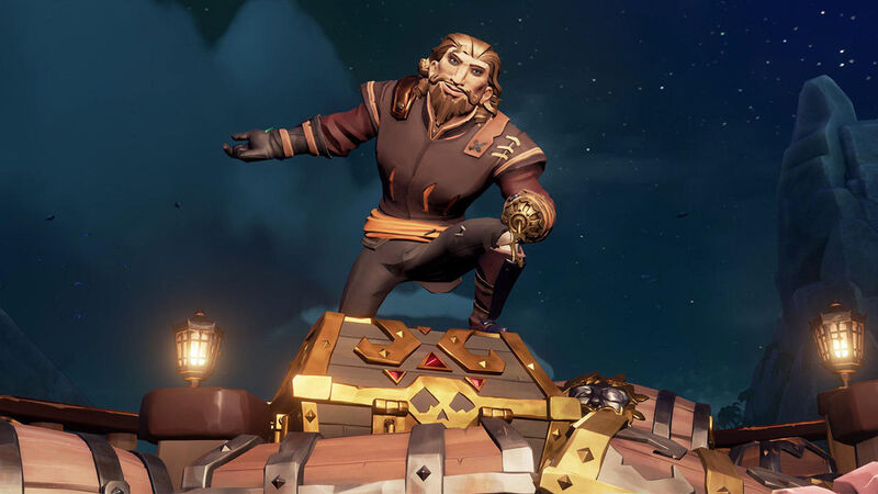 Pirate standing on top of treasure chest