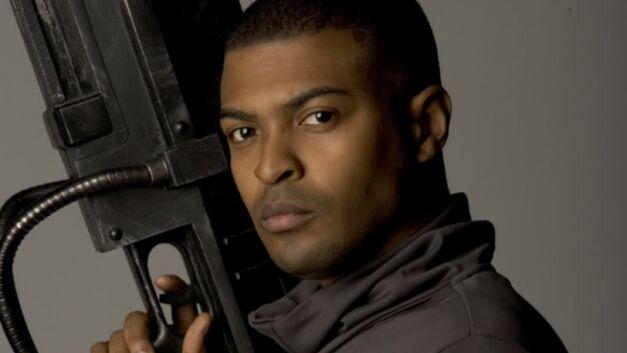 Mickey Smith with a gun Doctor Who