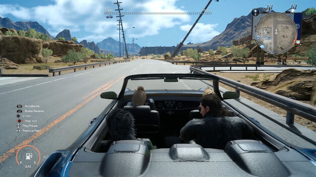 The cast of Final Fantasy XV drives off.