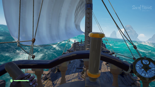 The golden spoke on the steering wheel in Sea of Thieves