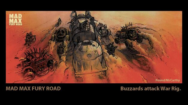 The concept art of the buzzard attack war rig scene translated perfectly into the film