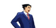 PXZ2 Phoenix Wright (zoom) - shouting (right)