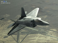 Ace Combat 4 promotional artwork with F-22 over air base