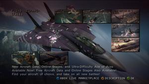 Ace Combat 6 DLC Menu