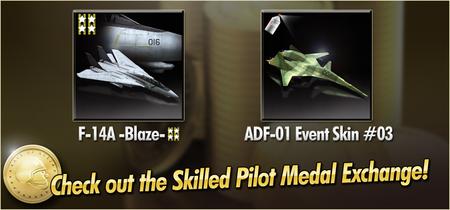 F-14A -Blaze- and ADF-01 Event Skin 03 Skilled Pilot Medal Exchange Banner