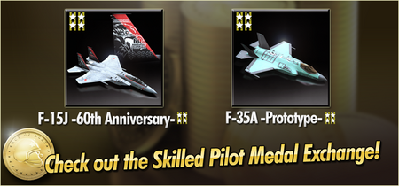 F-15J -60th Anniversary- and F-35A -Prototype- Skilled Pilot Medal Exchange Banner