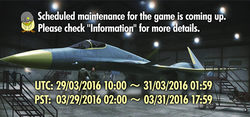 Ace Combat Infinity Maintenance Banner March 2016