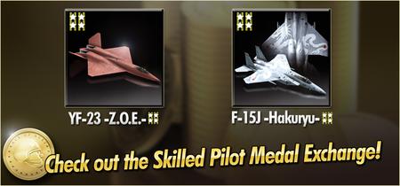 YF-23 -Z.O.E.- and F-15J -Hakuryu- Skilled Pilot Medal Exchange Banner