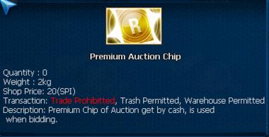 Premium auction chip