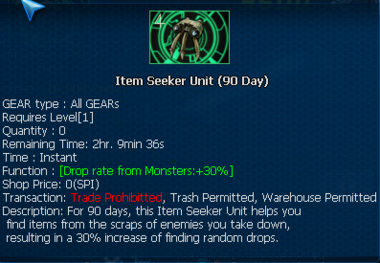 Item seeker unit