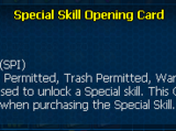 Special skill opening card