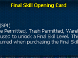 Final Skill Opening Card