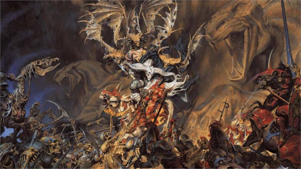 Dark-fantasy-art-warriors-dark-battle-skulls-demons-weapons-sword-evil-horror-skeleton-4-Sizes-Home