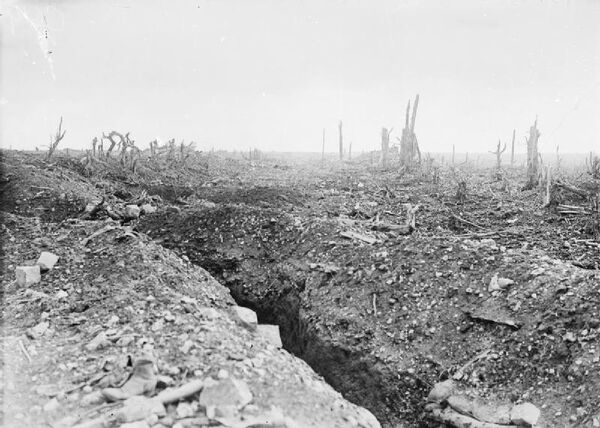 The badly shelled main road to Bapaume