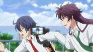 Saku running with Kakeru near him filming