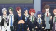 Chiguma, Mike, Kai, Kagetora, Takato, Tsukasa, and Ushio waiting for Sakutasuke to perform
