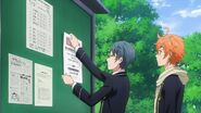 Satsuma and Hinata putting up posters