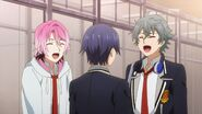 Sosuke and Uta laughing at Saku's expression