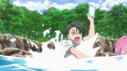Chiguma being dragged in the water by Uta