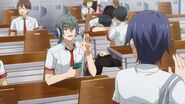 Sosuke waving to Saku in class
