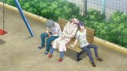 Saku sitting and noticing something with Sosuke and Uta sitting