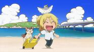 Ryo on a trip with the kitty and pigeon