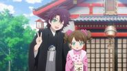 Kakeru with his younger sister in kimono's